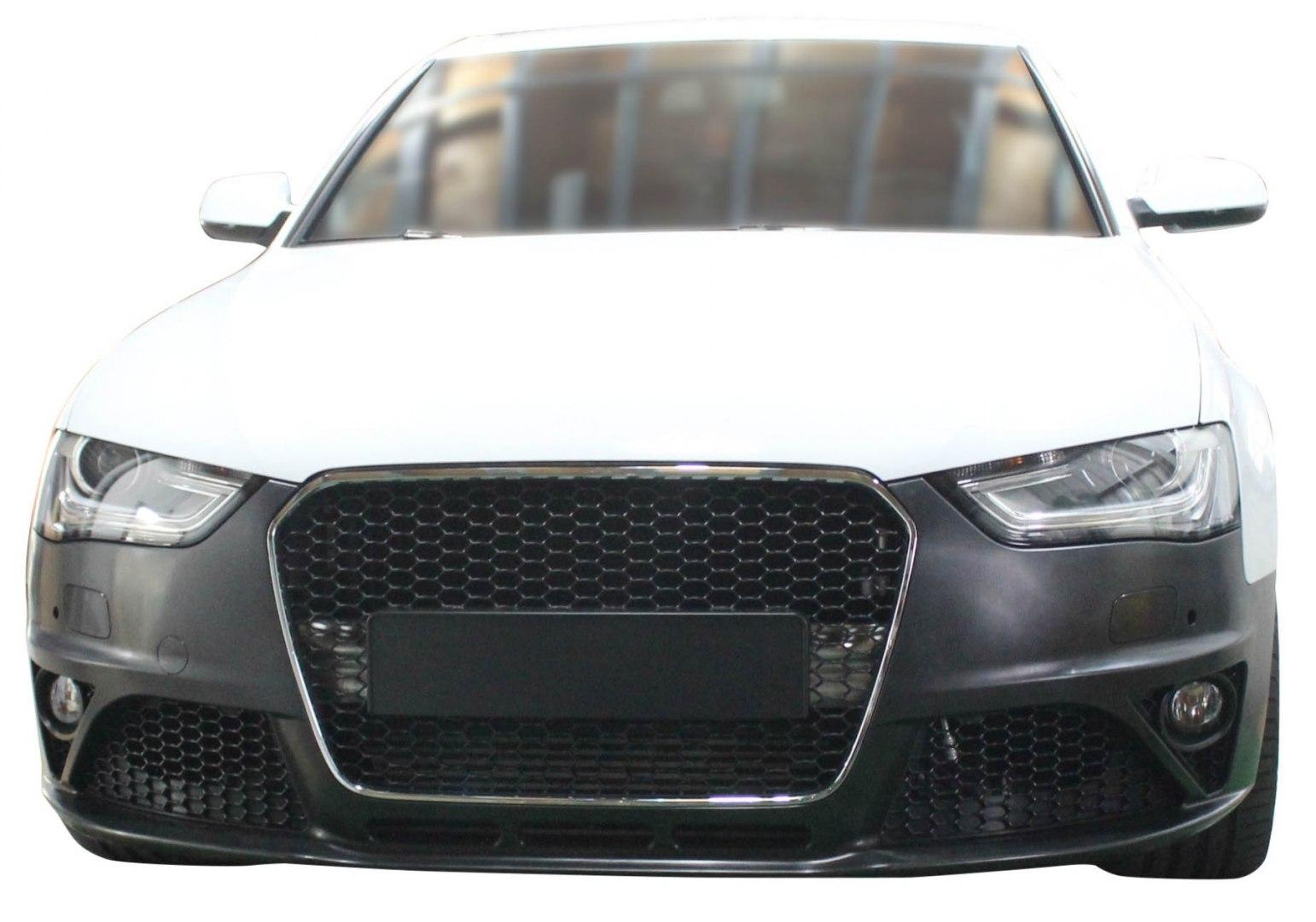 Zderzak przedni + Grill Chrom-Czarny Audi A4 B8 13-16 RS4 Style - GRUBYGARAGE - Sklep Tuningowy